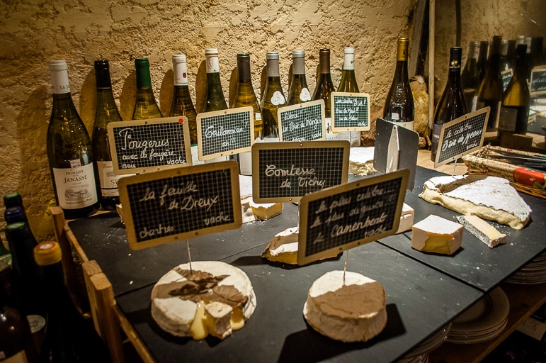 Cheeses in cave of Bordeaux's French cheese restaurant