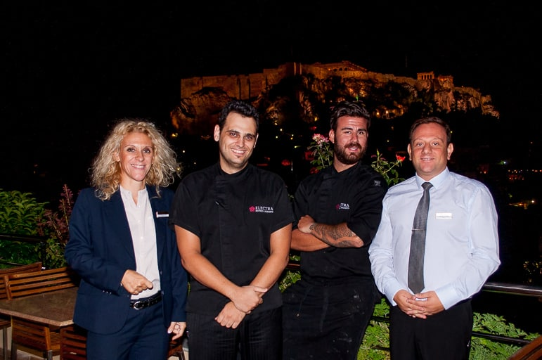 Chef Daniel, Sous Chef Xazis and colleagues at Electra Palace hotel