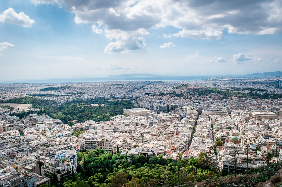 Views over Athens from the Orizontes restaurant, Lycabettus Hill