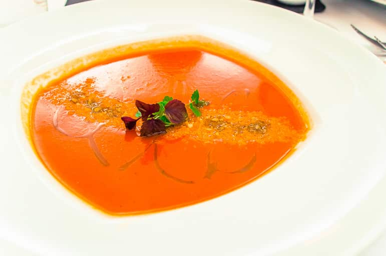 Gemista soup at the Hilton Hotel, Byzantino restaurant