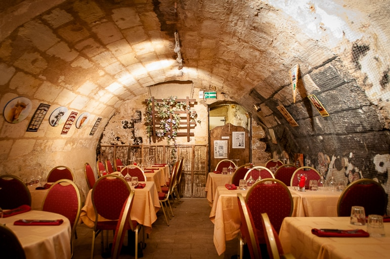 In the cave at French cheese restaurant, Baud et Millet