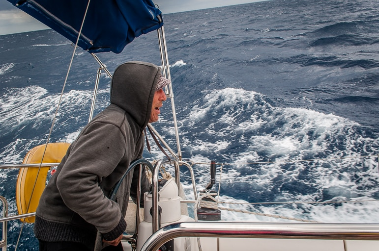 Sailing in Menorca - Jacob gets to grips with the job at hand