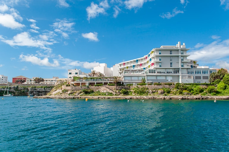Sailing in Menorca - past our hotel in Es Castells