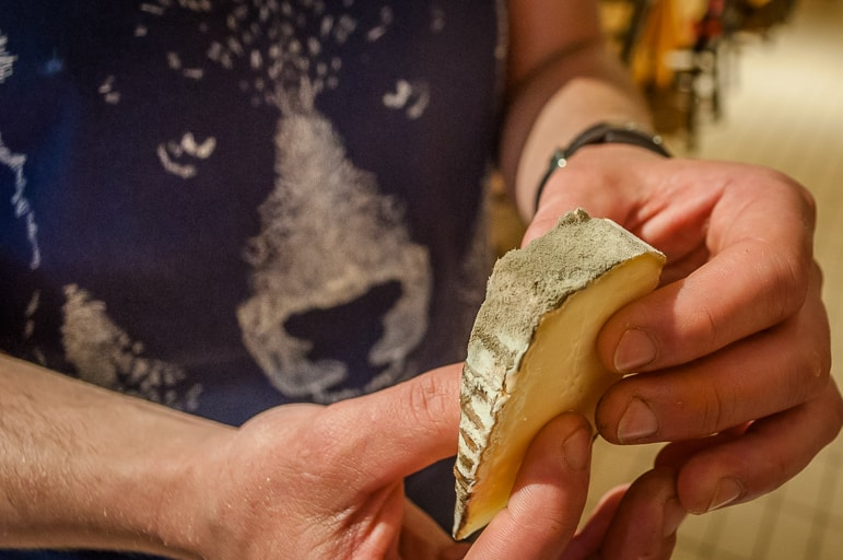 The mouldy rind of St Nectaire cheese at Baud et Millet