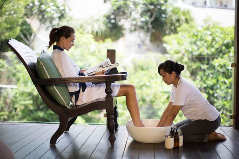 Karma Royal Resorts' spa Goddess Ritual starts with a foot massage copy