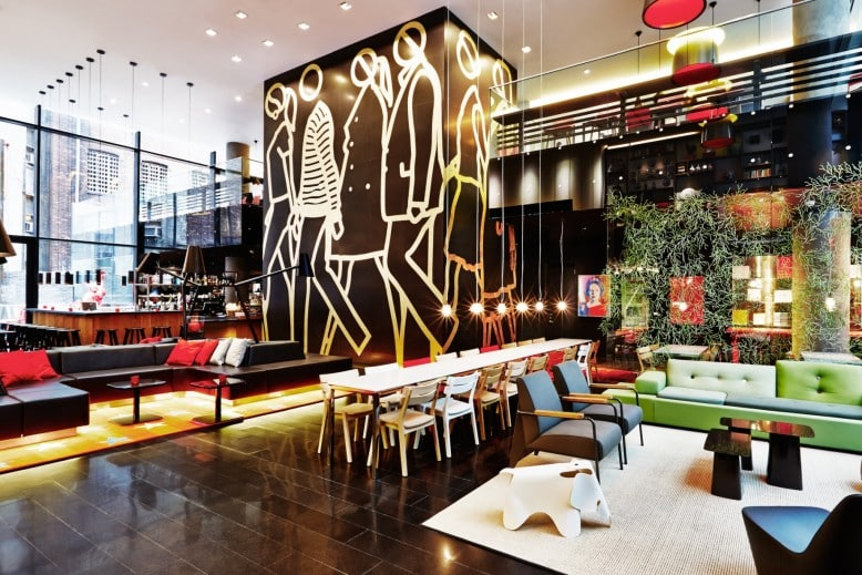 Where to stay in New York - living room lobby area at citizenM Hotel in New York I Pic Roderick Eime