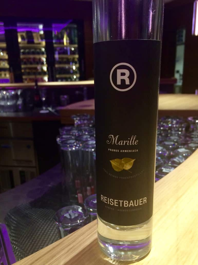Marille schnapps at the bar of the Das Central hotel