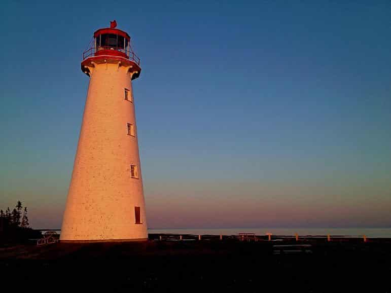 Travel to Prince Edward Island - Point Prim lighthouse at sunset