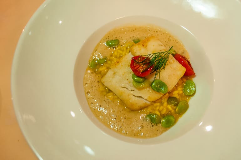 Turbot with shellfish risotto & flageolet beans