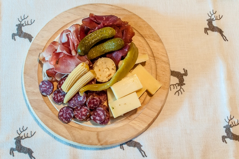 Typical Tyrolean meat and cheese platter