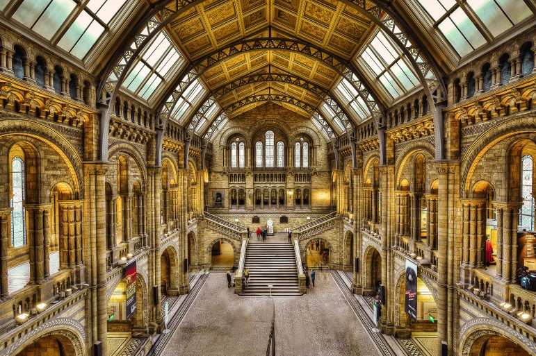 View of the main hall of London's Natural History Museum