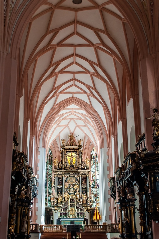 The altar of St Michael's basilica, Mondsee. In the film Maria marries the Captain here.
