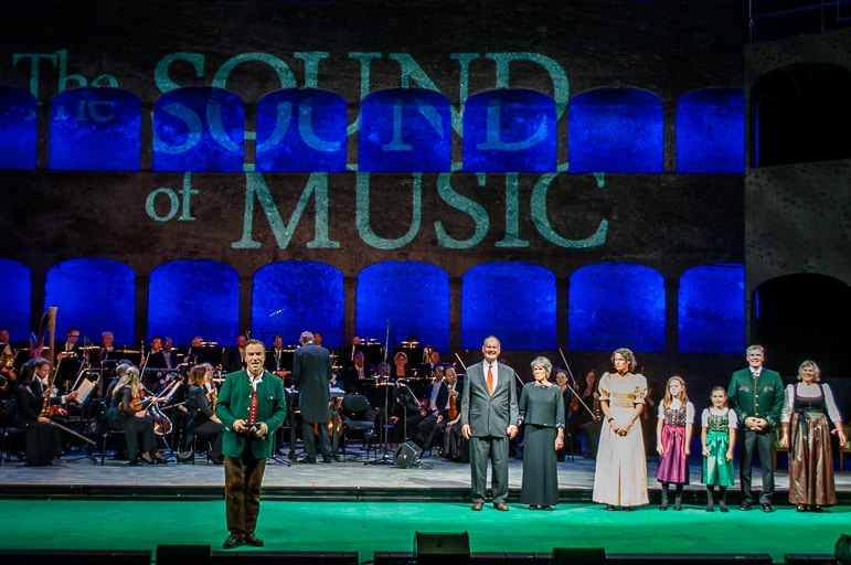 The von Trapp family are introduced on stage at the Felsenreitschule during the Sound of Music 50th anniversary gala