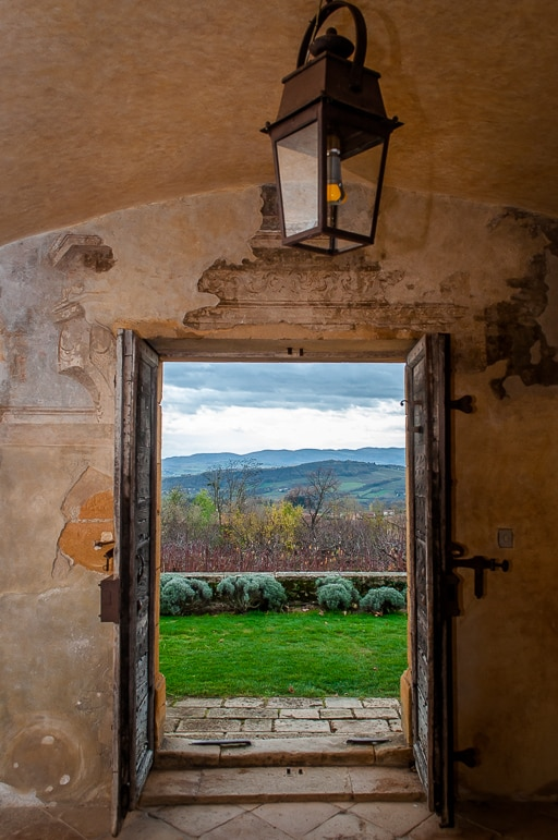 View of the gardens at Chateau de Bagnols one of the most special places to stay in France