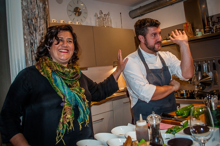 Gabriella Ranelli and chef, Iñigo Zeberio at the Tenedor pintxos workshop, in San Sebastián