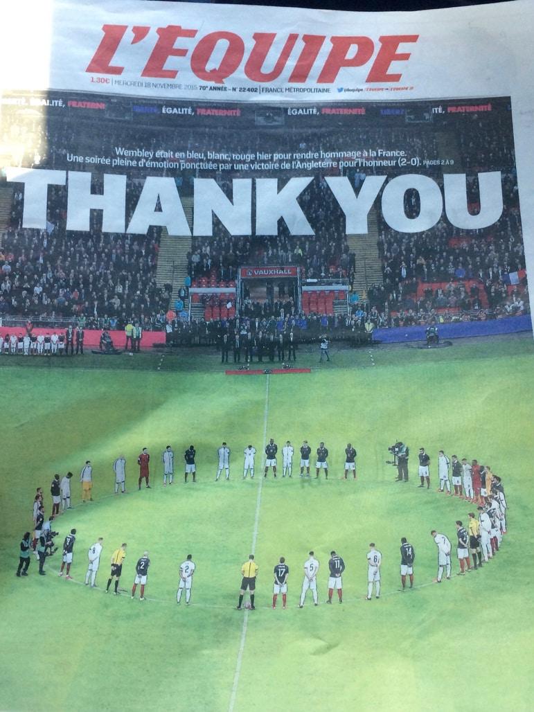 L'Equipe newspaper's message to Britain