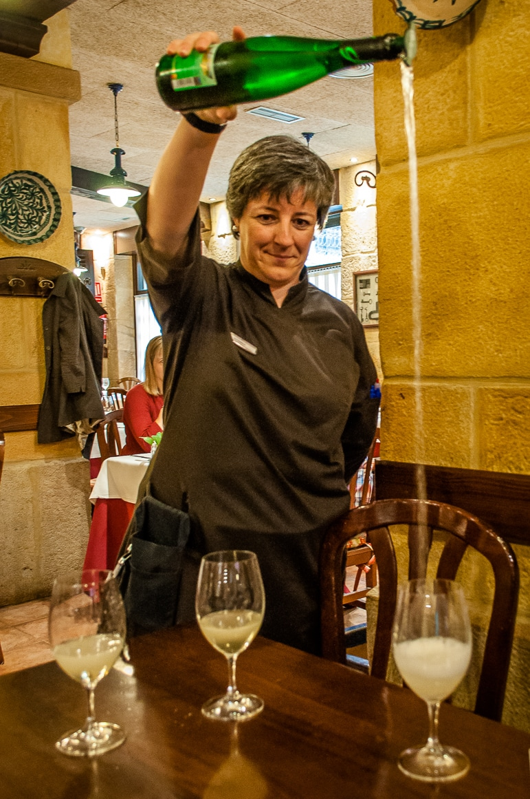Pouring the txakoli in traditional style at Gandarias, in San Sebastian, European Capital of Culture 2016