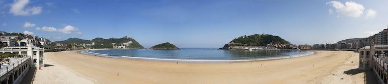 The view of La Concha beach from La Perla Spa