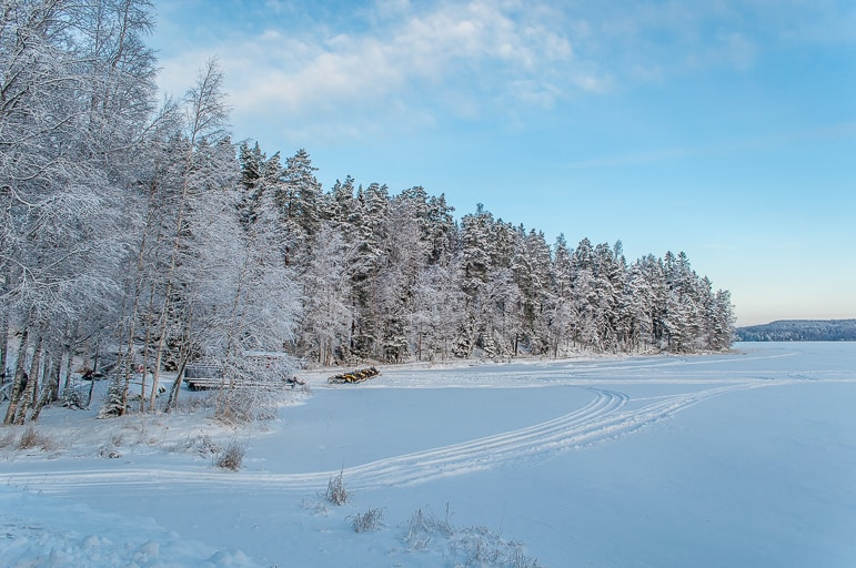 A real winter in the Finland's land of a thousand lakes