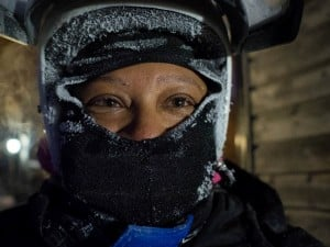 Sarah ready for her snow mobile in Lathi | pic: Kea Soza