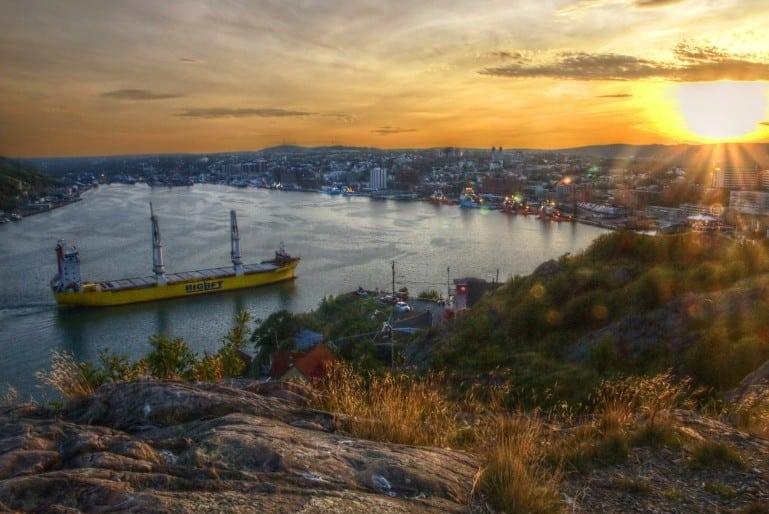 Sunset over St Johns Harbour Pic Emmanuel Milou