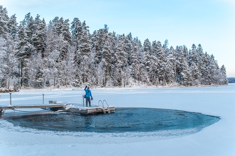 The ice hole on Lake Päijänne at Lehmonkärki resort.