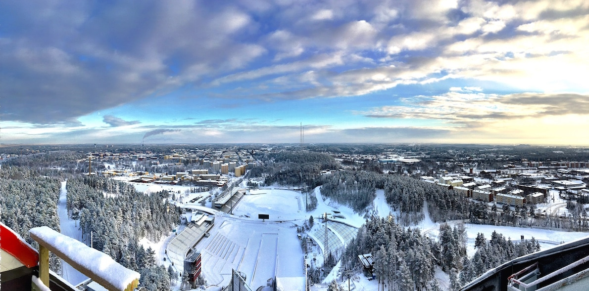View from the international ski jump in Lahti. Home of the 2017 FIS Nordic Ski World Championships