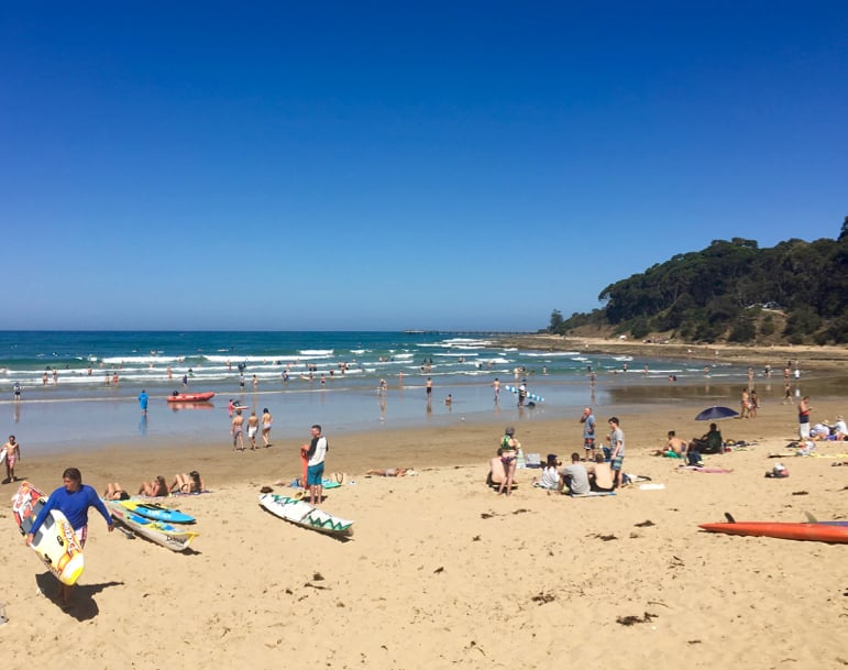 Melbourne to the Great Ocean Road itinerary - on the beach at Lorne
