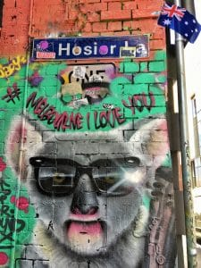 Melbourne to the Great Ocean Road itinerary - street art in Hosier Lane
