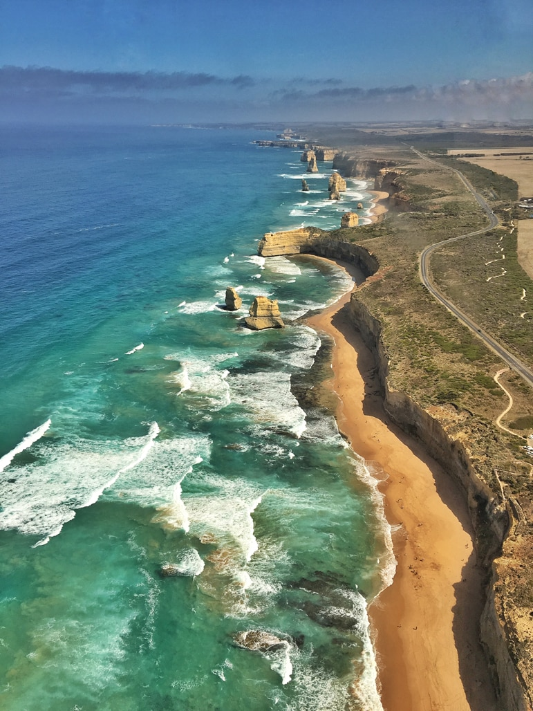 Melbourne to the Great Ocean Road itinerary - the Twelve Apostles from the helicopter