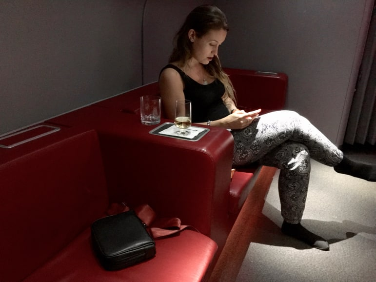 Qantas business class lounge on the A380