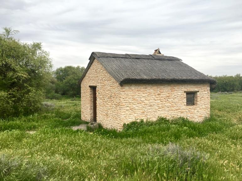 Stone house at Tablas de Daimiel in La Mancha, Spain
