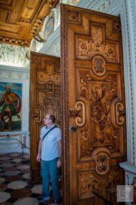 Huge doors of the Spanish Hall at Schloss Ambras Innsbruck
