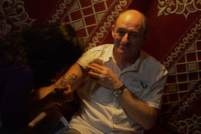 Everyone gets tattoed at the Bedouin Oasis Camp | pic: Brandon Li