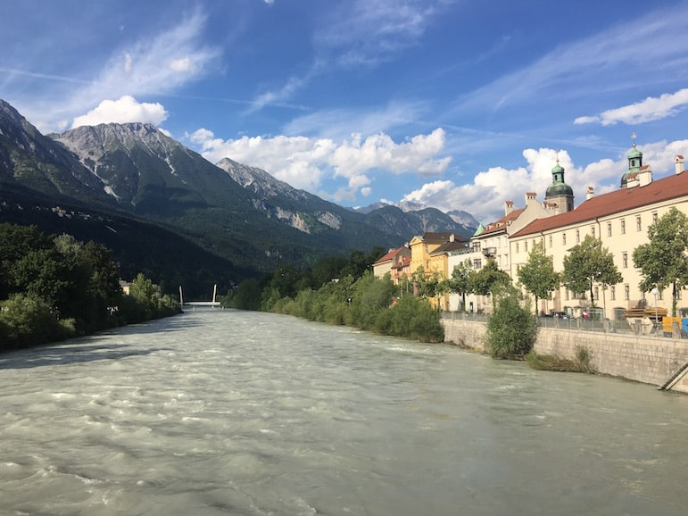 Innsbruck encircled by the Tirolean Alps with the River Inn running through it