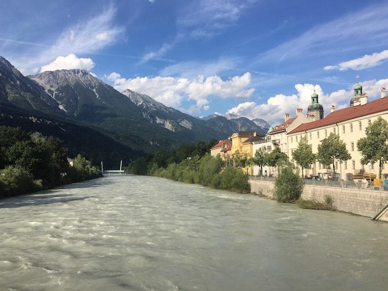 Innsbruck encircled by the Tirolean Alps with the River Inn running through it