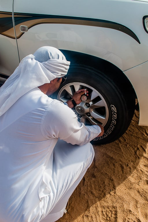 Places to go in Ras Al Khaimah - preparing to go dune bashing