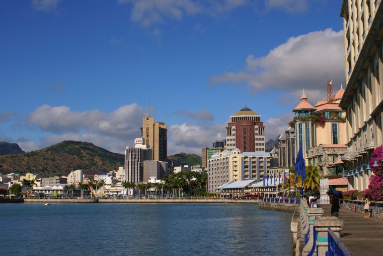 Port Louis' waterfront is home to fine dining restaurants and luxury shops