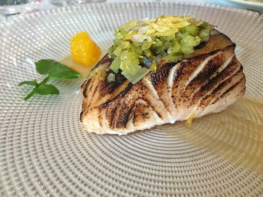 The best food in the world - roasted salmon with red miso and grapefruit served to perfection at El Carmen de Montesión, Toledo