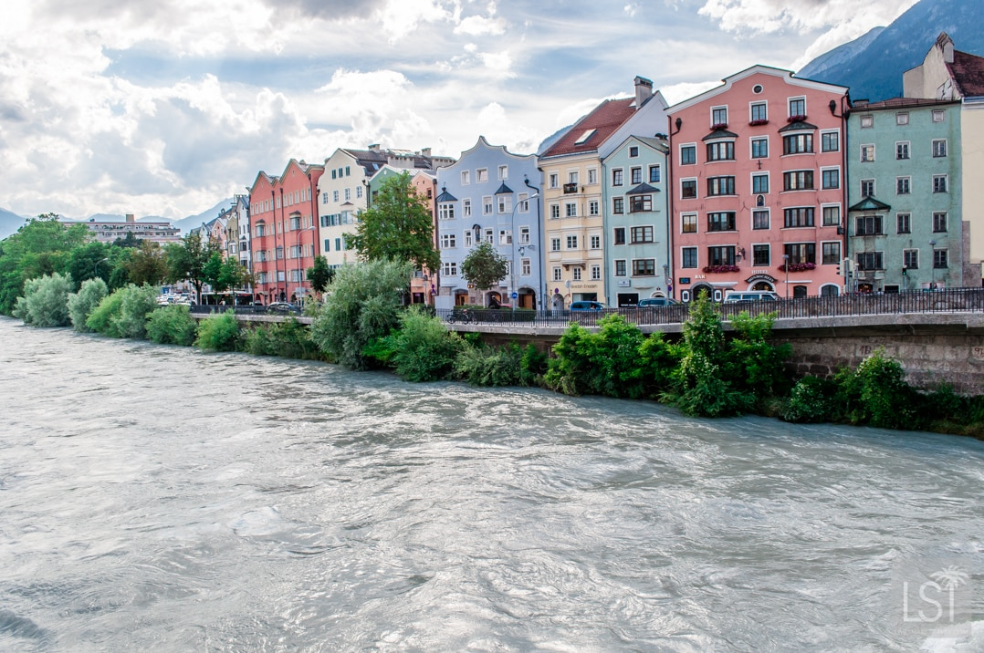 The colourful buildings of Innsbruck along the River Inn