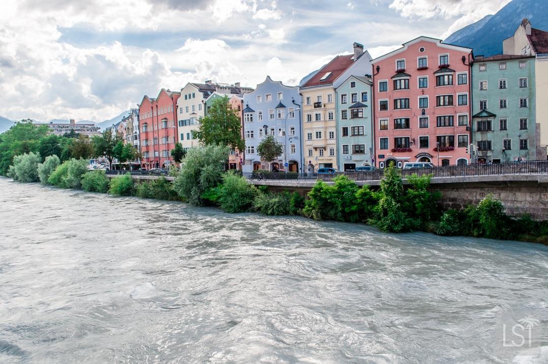 The colourful buildings of Innsbruck along the River Inn