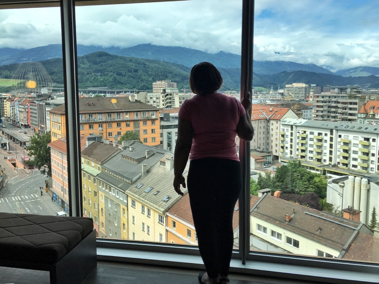 View of Innsbruck from the panoramic windows of the Adlers Hotel