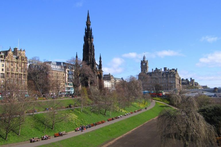 View of Princes Street, the Scott monument and the impressive Waverley Station