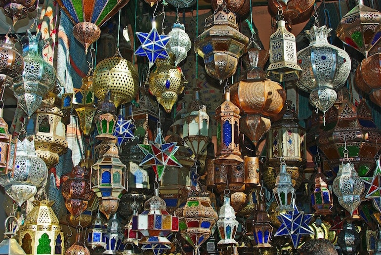 Autumn destinations - pretty, colourful lamps in Marrakech souk - best fall vacations