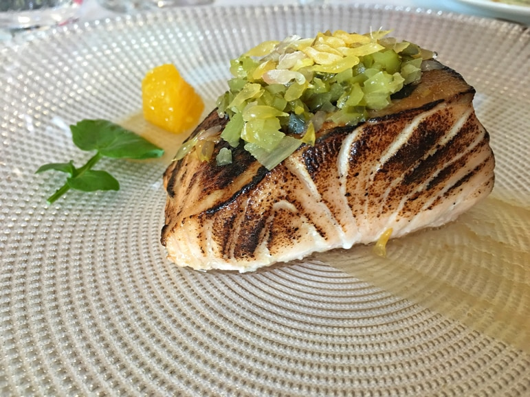 Roasted salmon with red miso and grapefruit at El Carmen de Montesión, in Toledo - Spain's capital of gastronomy 2016