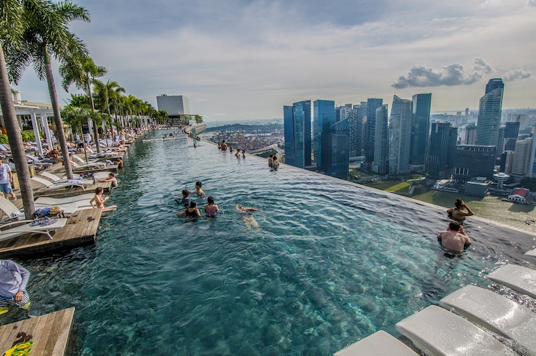 Landmarks around the world - the infinity pool at Marina Bay Sands Hotel offers phenomenal views of Singapore | Pic Silas Khua