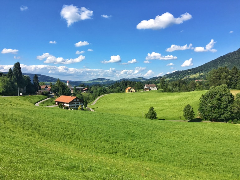 It's not a bad view of the Austrian countryside from Krumbach's bus stops