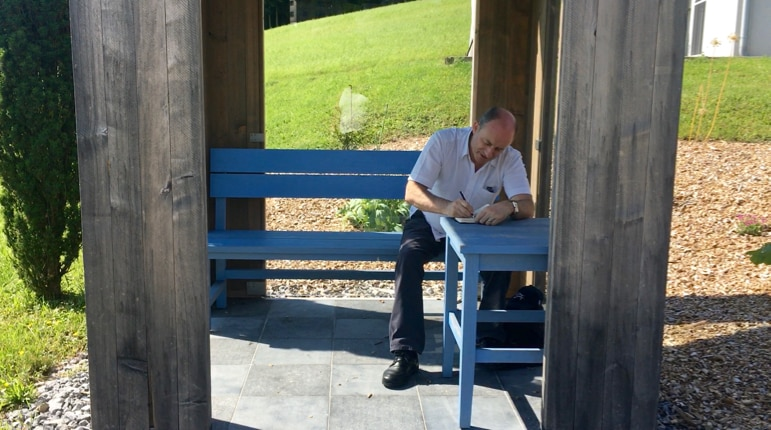 Terry is schooled in the artistry of Krumbach's bus stops - one of the quirkiest places to visit in Austria