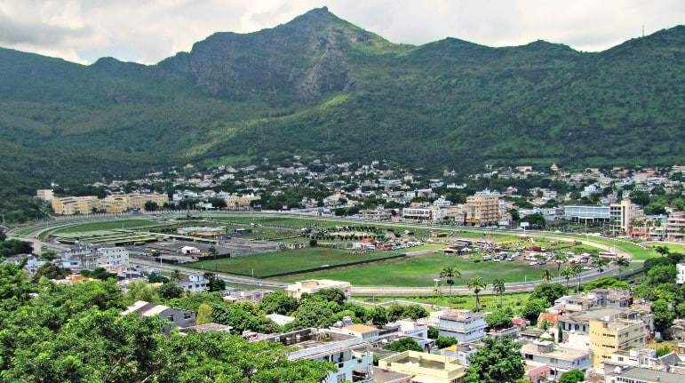 Views of the racecourse from Fort Adelaide in Port Louis