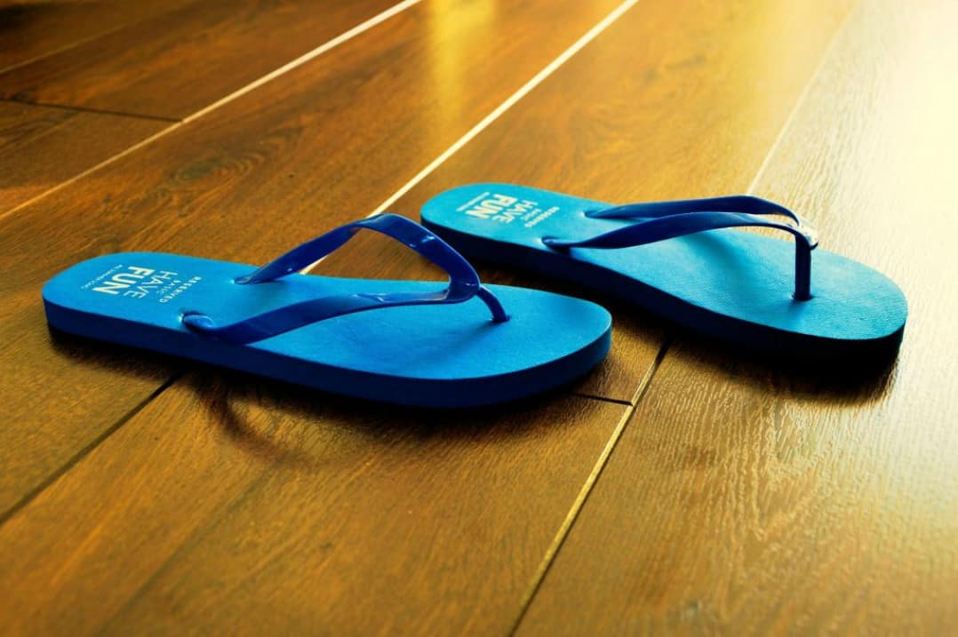 Beach fashion - blue flip flops